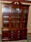 DREXEL CHINA CABINET 18th Century Flame Mahogany Lighted Breakfront VINTAGE