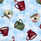 Cheers Winter Hot Cocoa Holiday Mugs on Blue Snowflake Cotton Fabric Fat Quarter