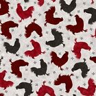 Bonjour Roosters Black, Red and Wine Cotton Fabric by the Yard