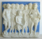 Signed Antique Italian Art Pottery Blue White Relief Nude Cherubs Wall Plaque