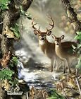 Realtree Hunting Deer Buck and Doe Large Cotton Fabric Panel