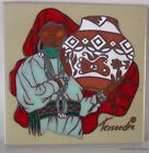 Cleo TEISSEDRE Art Tile INDIAN WOMAN w/ Clay Bowl