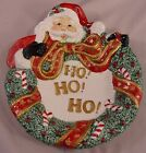 Canape Plate in Santa with Wreath by Fitz & Floyd  NEW IN BOX