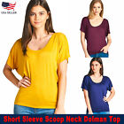 USA New Women Active Short Sleeve Scoop Neck Dolman Tops Solid Color Size SML