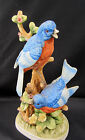 Blue Bird Figurine Royal Crown Signed J Byron Yellow Flowers Chip Wing XX AS IS