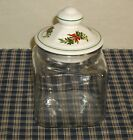 Pfaltzgraff Christmas Heritage Glass Canister/Jar with Stoneware Lid Vintage USA