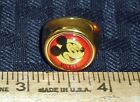 VINTAGE MICKEY MOUSE ADJUSTABLE BRASS RING RED GOLD NICE USED COND M