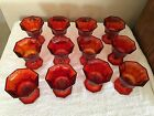 12 VTG OCTAGONAL RUBY RED AMBERINA INDEPENDENCE