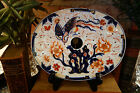 Antique English Imari Color Meat Strainer Platter Drainer Staffordshire Plateau