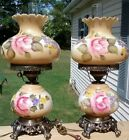 VINTAGE PAIR GONE WITH THE WIND HAND PAINTED ROSES ON HURRICANE LAMPS 3 WAY