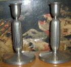PAIR DECORATIVE ART JUST ANDERSEN DENMARK PEWTER CANDLESTICK HOLDERS 6.5