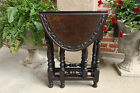 PETITE Antique English Oak Drop Leaf Tea Table Sutherland Baluster Legs