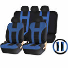 Premium Universal Double Stitched Polyester Seat Covers Steering Wheel Cover Set