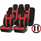 Universal Double Stitched Polyester Seat Split Bench Steering Wheel Cover Set