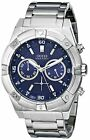 Latest GUESS Men's U0377G2 Silver-Tone Chronograph Watch with Iconic Blue Dial