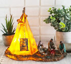 Native American Indian Chief and Elders Building Fire By LED Tipi Tent Statue