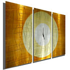 Large Copper 3 Panel Wall Clock Modern Contemporary Metal Wall Art Sculpture
