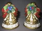 Fitz & Floyd Christmas Deer Salt and Pepper Shaker Set Holly Bell Tassle Bow