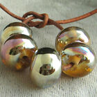 DFJ Lampwork 5 USA Handmade Silver Glass Spacer Beads Gold Pink Aurora Fumed SRA