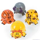 4 JUNGLE ZOO ANIMAL Shaped Inflatable Beach Balls Blow Up Pool Party Favors