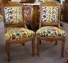 2 Antique Carved Victorian Eastlake Walnut Parlor Chairs Floral Upholstery Ships