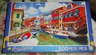 500 PIECE JIGSAW PUZZLE - VIBRANT HOUSES ALONG CANAL, ITALY ( NEW )