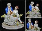 Antique German Dresden Lace Porcelain Figurine Man w/ Flute Courting Young Lady