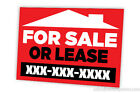 FOR SALE OR LEASE FULL COLOR SEMI CUSTOM DOUBLE SIDED SIGN PACK OF 10