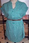 NEW Target Plus Size Belted Dress Tunic Navy Blue Green 1x 2x 3x