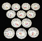 Set of 12 Small Schumann Porcelain Bowls White, Gold with Flowers