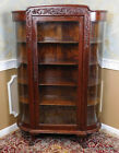 Antique Quartered Oak Victorian Era Curved Glass Curio Display Cabinet c1900