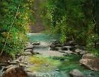 YARY DLUHOS river waterfall landscape forest Original IMPRESSIONISM Oil Painting