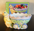 FITZ AND FLOYD ESSENTIALS EGGSCAPADES JELLY BEAN WAGON EASTER CANDY DISH BOWL