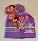 Dora The Explorer & Boots Girls Purple Embroidered Beanie Size 4 - 6 New