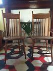 2 Matching Oak Pressed Back Side Chairs Pair