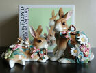 FITZ AND FLOYD WOODLAND SPRING RABBIT ORNAMENT PAIR EASTER FIGURINES