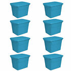 Sterilite 18 Gallon Plastic Storage Tote Blue Aquarium 8 Pack  17314308