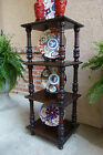Antique English Carved Dark Oak Display Stand 5 Tier Table Square Shelf