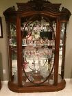 Antique Solid Oak Victorian Curved Front China Cabinet Figural Cherubs HUGE