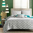 Twin New  size Reversible Quilt Set in Grey White Teal Blue Green Chevron Stripe