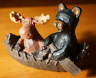 MOOSE  BLACK BEAR IN WOOD CARVED CANOE Country Lodge Cabin Figurine Decor NEW