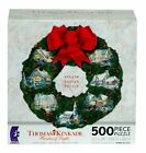 Thomas Kinkade Christmas Cottage Collection Wreath Shaped Puzzle 500 Piece MADE
