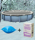 30 Round Above Ground Winter Pool Cover + 4x4 Air Pillow + Winterizing Kit