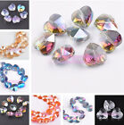 10pcs 14mm Charms Heart Faceted Crystal Glass Loose Spacer Beads Jewelry Making