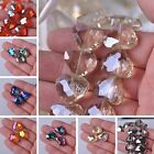 New 5 10pcs Faceted Heart Shape Crystal Glass Loose Spacer Beads Charms Jewelry
