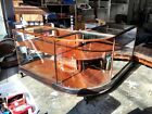 Antique Mahogany Footed Curved Glass Display Case Early 1900s