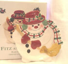 FITZ & FLOYD PLAID CHRISTMAS SNOWMAN CERAMIC CANAPE SERVING PLATE NEW
