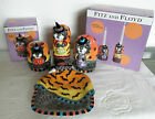Lot of 4 Fitz & Floyd Kitty Witches Candle Cup, Candle Holders & Canape Plate