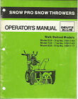 SNOW PRO SNOW THROWERS WALK BEHIND MODELS 524,724,828 OPERATORS MANUAL