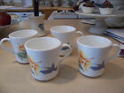 Corelle HUMMINGBIRD Hibiscus 4 coffee mugs cups In Excellent Condition